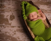 knit newborn photo prop set,  sweet pea cocoon and cute chunky hat,great for photo prop,newborn-3m,soft stretched and cuddly
