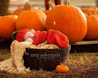 Photo Prop Pumpkin Hat and Cocoon, Newborn knit pumpkin photo Prop,Pumpkin set, Pumpkin cocoon, Thanksgiving, Pumpkin photo prop set