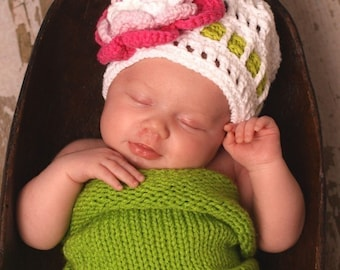 Baby Girl Photo prop set,Newborn photo prop set, Knit Newborn Cocoon ,2 in 1 hat ,hat been featured on Parents magazine,Apple Blossoms