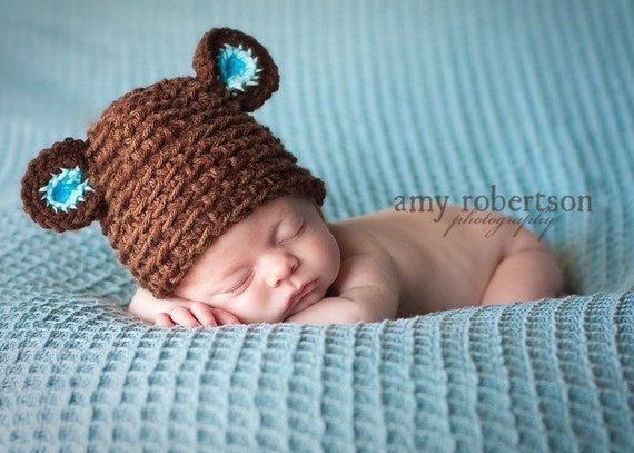 Baby Bear Hat , Newborn  Photo Prop, 3m,6m,12m ,made by order, Crochet Baby Bear hat,Photo prop boy