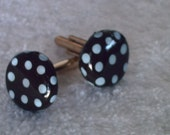 Chocolate Brown and Blue Polka Dot Cufflinks