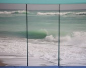 "1 CUSTOM ORDER / Beach Wave Image - Canvas Gallery Wrap - 3 panel triptych - 54""x36"""