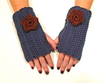 Teal Blue Fingerless Gloves