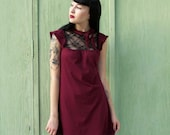 SALE Burgundy Wine Red Mini Dress with Black Lace Bust and Bow SMALL