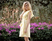 Jennifer Light Cotton Dress with Flounce Sleeves and Fabric Belt