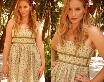 Karina Green Floral Cotton Tea Dress with lace trim - SAMPLE SALE - Size 0