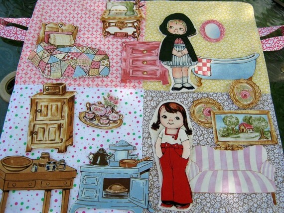 Cloth Paper Dolls , Furniture And Clothes , With Case