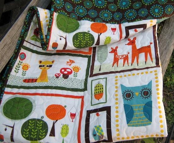 Baby Quilt , Whimsical Retro Animals
