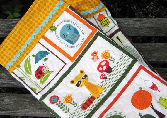 Baby Quilt  Whimsical Retro Animals