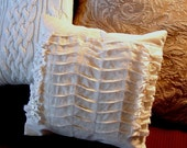 Sweet Tuxedo Pleats and Ruffles and Buttons on a French style Muslin Pillow Cover
