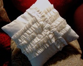 Sweet Ruffled Beauty. Hand Made Muslin Pillow Cover with Ruffles, Rosettes and Buttons