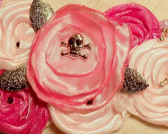 The Tiniest Skull In A Necklace -Tiny Silvery SKULL In a Pretty Pink Satin Rosette Necklace...Goth, Steampunk, Pirate Chic