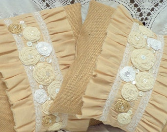 """TWO  12"""" Square Burlap and Ruffled Muslin Pillow Covers Shabby Chic Cottage Decor"""