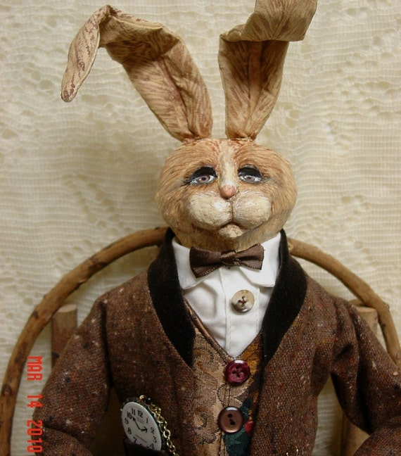 Folk Art Rabbit Gentleman Doll Very Distinguised In A Tweed