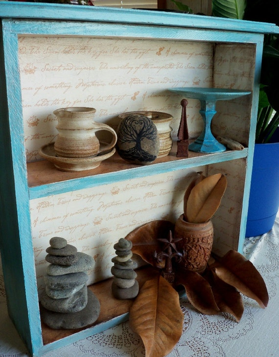 Wooden Drawer to Bookshelf...Beautifully Recycled Turquoise Blue Vintage Style Shelf