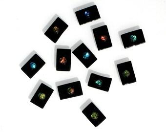 Fused Glass Dichro Dot Tiles - 12