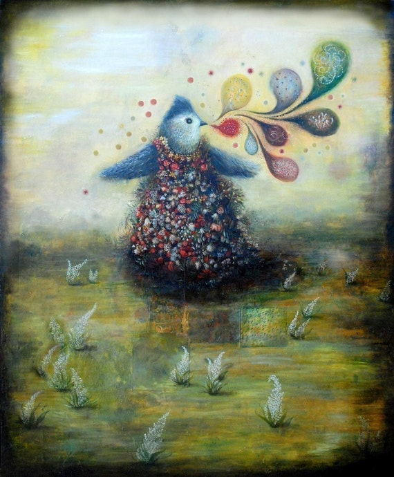 Tufted Titmouse Goes To Town, Original Archival Print of original oil painting