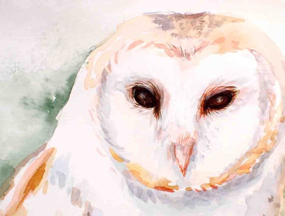 Owl painting, Woodland Barn Owl, watercolor painting, one of a kind watercolor painting