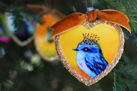 Sale,Christmas Ornament, Holiday Ornament, Bird Art, German Glass Glitter Ornament , King Bird