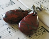 In the Blood Earrings - Dark Red and Grey Brecciated Jasper Puffed  Wire Wrapped Antique Silver Posts - Nature Minimalist Modern Rustic Gift