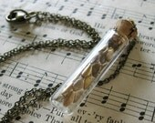 Second Skin Necklace - Gold Leaf Painted Real Snake Skin in Small Glass Vial on Antique Brass Chain - Nature Animal Steampunk Gift