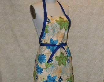 Chef Apron Amber Royal Blue Floral All Cotton Cell Phone Pocket Reversible Lined made by me