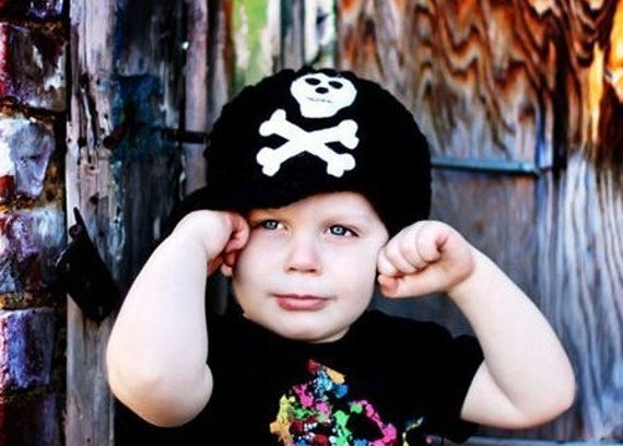 Brimmed Pirate Skull and Crossbones Beanie Hat