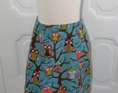 Girls Blue Owl and Heart Corduroy Skirt