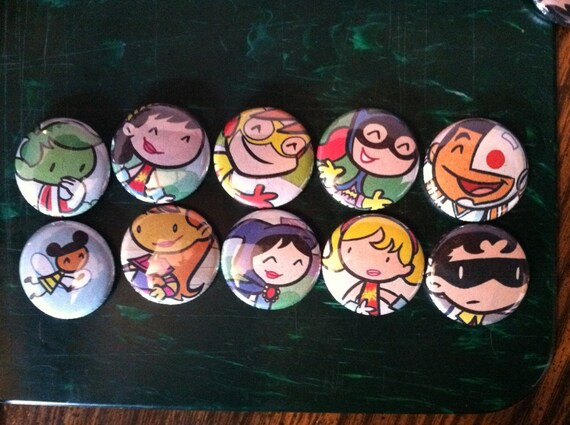 Tiny Titans Button Set of 10 DC Comics Upcycled