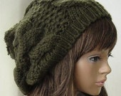 Navy green  beanie wool hat with pompon adult size