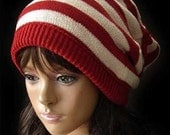 Attractive Hand knitted red and white  beanie wool hat