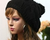 Black beanie wool hat with pompom adult size