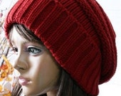 Beautiful Hand knitted red beanie wool hat