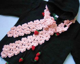 Very cute pink double line wool pear flowers scarf Christmas gift