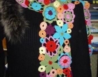 Multi-colour rainbow irregular flowers scarf