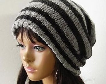 Attractive black and grey beanie wool beanie hats