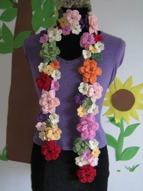 Multi-colour irregular flowers crochet wool scarf