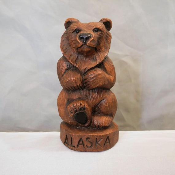 Vintage Alaskan bear statue Kiana faux wood totem figure
