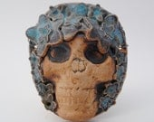 ceramic skull mask clay skeleton face sculpture wall art clay mask