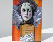 aceo original atc mixed media artist trading card art medical oddity