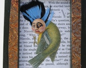 mixed media art assemblage collage anthropomorphic steampunk bird
