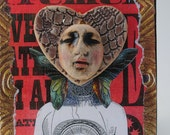 mixed media art assemblage collage steampunk art portrait