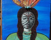 mixed media art painting on wood large wall art odd beauty queen