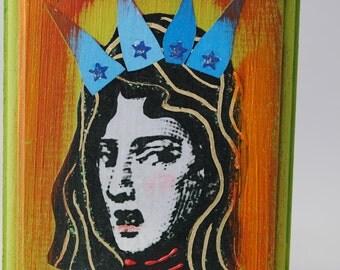 collage art block on wood miniature pocket art assemblage