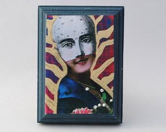 Phrenology art collage art block on wood assemblage