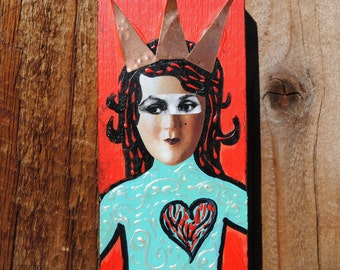 mixed media miniature wall art collage little crowned heart girl