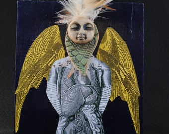 mixed media art collage assemblage original yellow wings