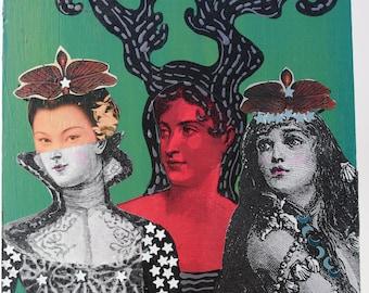mixed media art collage on wood 3 women surreal art