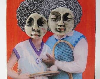 couple in love mixed media collage art altered small art piece tennis