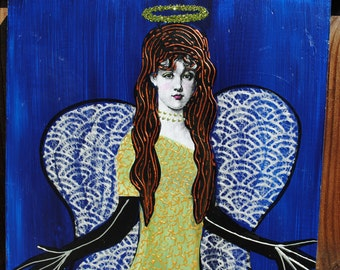 collage art original mixed media on wood angel with wings  wall art